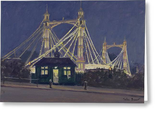 Chelsea Greeting Cards - Albert Bridge - Night Oil On Canvas Greeting Card by Julian Barrow