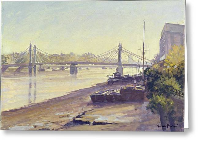 Chelsea Greeting Cards - Albert Bridge Oil On Canvas Greeting Card by Julian Barrow