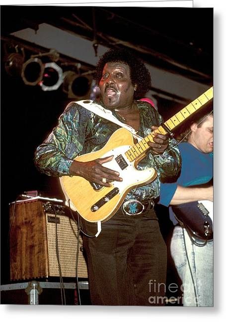 Guitar Stings Greeting Cards - Albert Collins Greeting Card by Front Row  Photographs