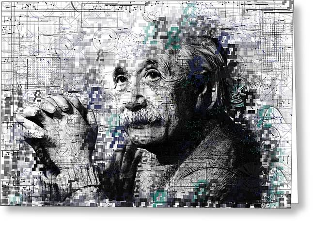 Winner Digital Art Greeting Cards - Albert Einstein 2 Greeting Card by MB Art factory