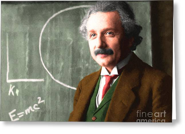 Quantum Mechanics Greeting Cards - Albert Einstein 20140910 horizontal Greeting Card by Wingsdomain Art and Photography