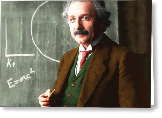 Quantum Mechanics Greeting Cards - Albert Einstein 20140910 square Greeting Card by Wingsdomain Art and Photography