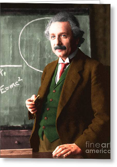 Quantum Mechanics Greeting Cards - Albert Einstein 20140910 Greeting Card by Wingsdomain Art and Photography