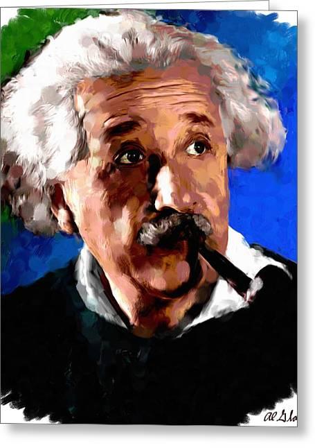 Allen Glass Greeting Cards - Albert Einstein Greeting Card by Allen Glass