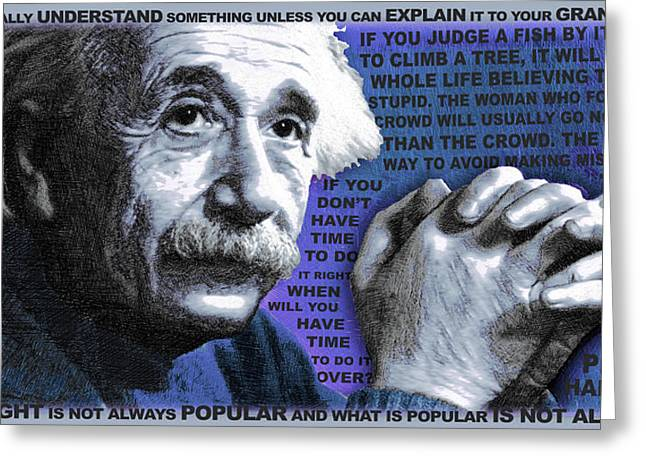 Smart Mixed Media Greeting Cards - Albert Einstein and Quotes Blue Greeting Card by Tony Rubino