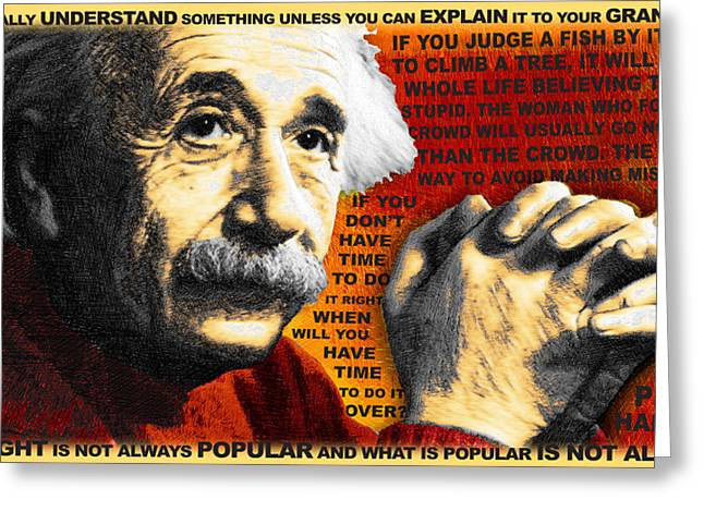 Smart Mixed Media Greeting Cards - Albert Einstein and Quotes Gold and Red Greeting Card by Tony Rubino