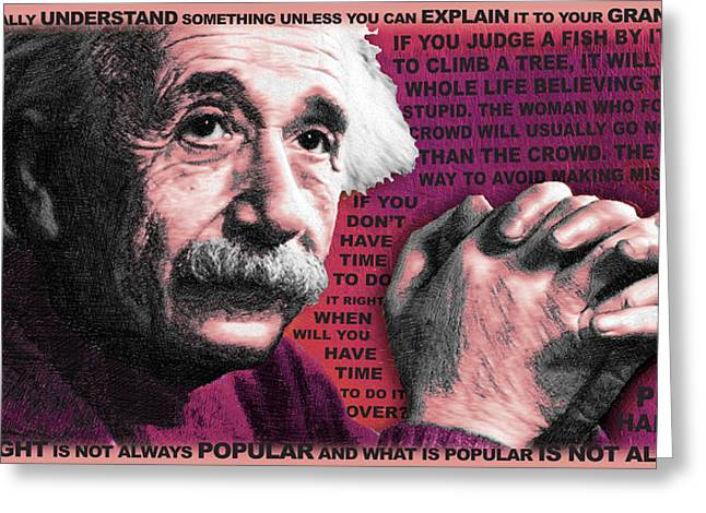 Smart Mixed Media Greeting Cards - Albert Einstein and Quotes Red Greeting Card by Tony Rubino