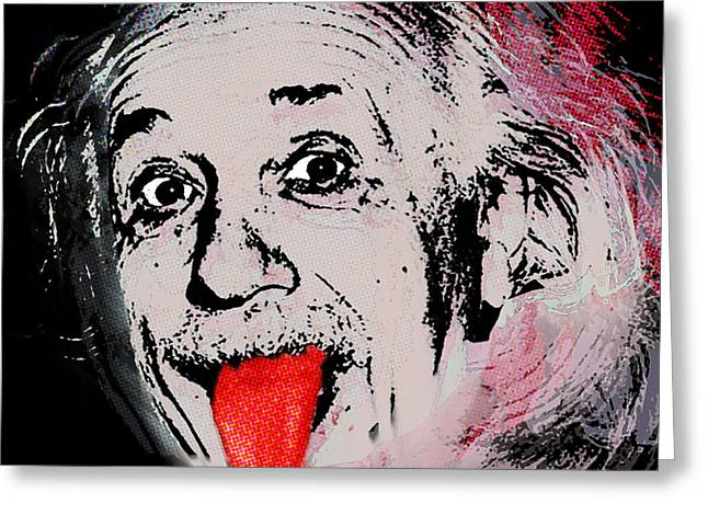 Action Photo Greeting Cards - Albert Einstein and Tongue Greeting Card by Tony Rubino