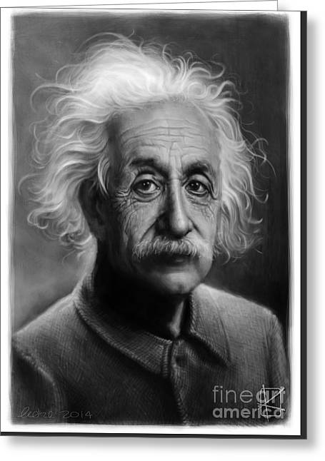 Mathematician Greeting Cards - Albert Einstein Greeting Card by Andre Koekemoer