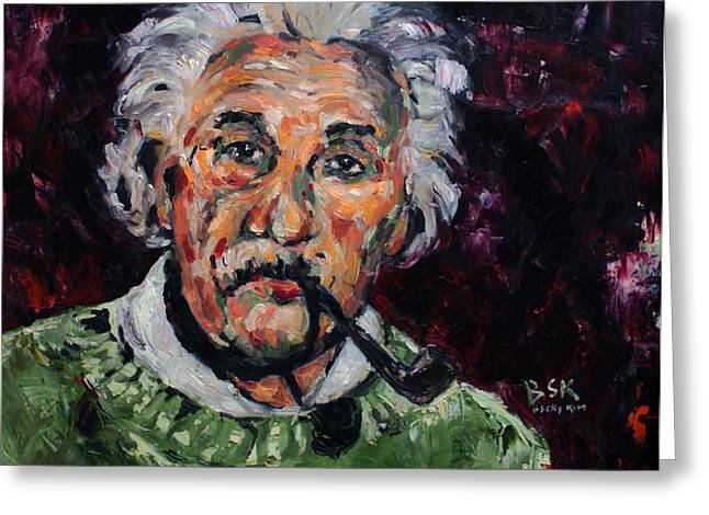 Albert Einstein Greeting Card by Becky Kim