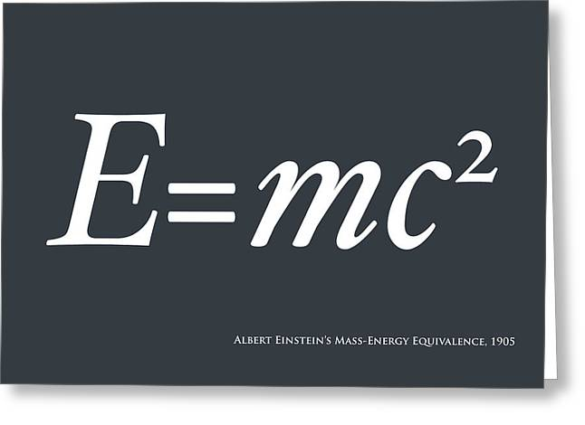 Physics Greeting Cards - Albert Einstein E equals mc2 Greeting Card by Michael Tompsett