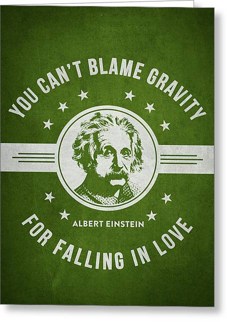 Physicist Greeting Cards - Albert Einstein - Green Greeting Card by Aged Pixel
