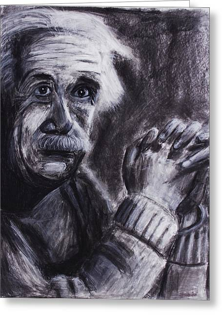 Gray Hair Drawings Greeting Cards - Albert Einstein holding his hands Greeting Card by Don Lee
