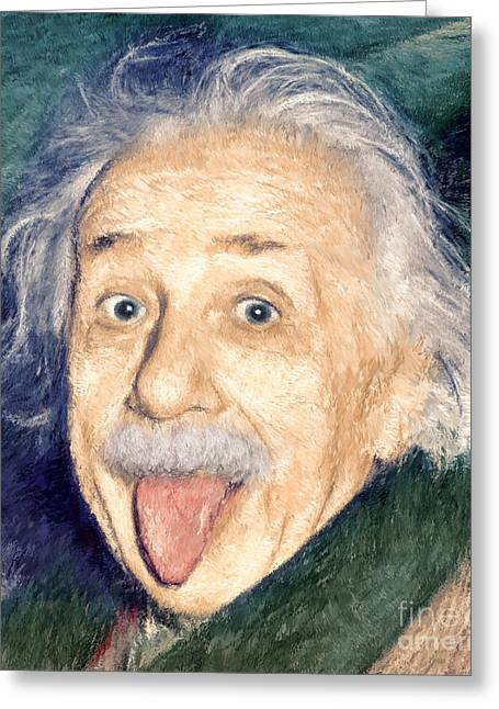 Savant Paintings Greeting Cards - Albert Einstein impressionist Greeting Card by Giuseppe Persichino