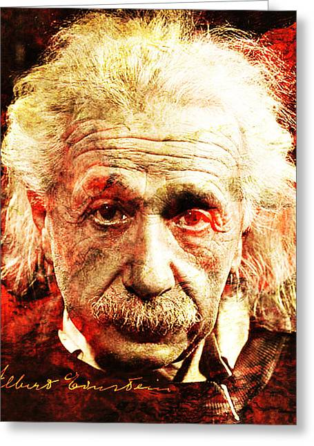 Unique Art Greeting Cards - Albert Einstein  Greeting Card by Jose Espinoza