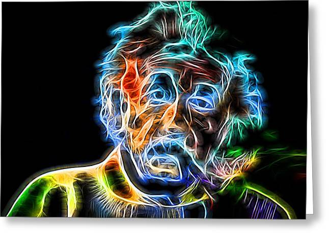 Quantum Physics Greeting Cards - Albert Einstein Neon Greeting Card by Dan Sproul