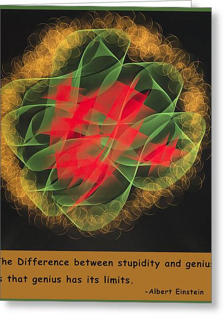 Best Sellers -  - Geometric Digital Art Greeting Cards - Albert Einstein On Stupidly Greeting Card by Barbara Snyder