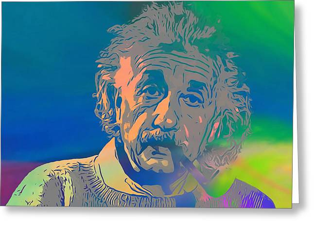 Smoker Greeting Cards - Albert Einstein Pop Art Smoking Greeting Card by Dan Sproul
