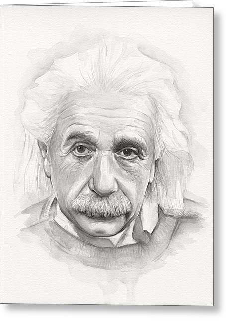 Physicist Greeting Cards - Albert Einstein Portrait Greeting Card by Olga Shvartsur