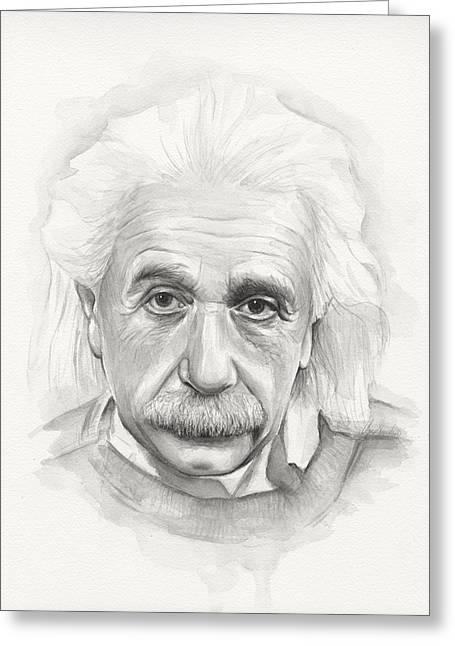 Physicist Greeting Cards - Albert Einstein Portrait Greeting Card by Olga Shvartsur