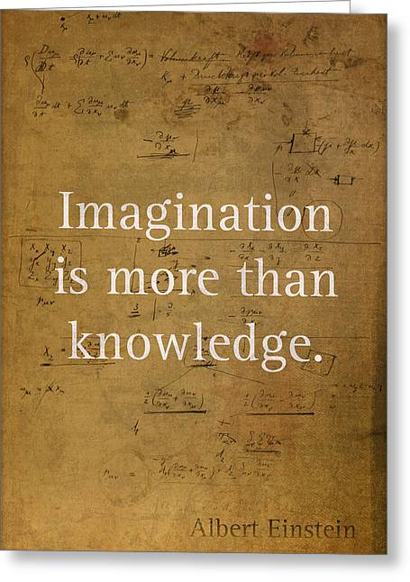 Words Background Greeting Cards - Albert Einstein Quote Imagination Science Math Inspirational Words on Worn Canvas with Formula Greeting Card by Design Turnpike