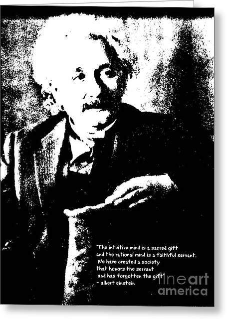 Padre Art Greeting Cards - Albert Einstein Quote - Intuition - 1931 Litho Greeting Card by Padre Art