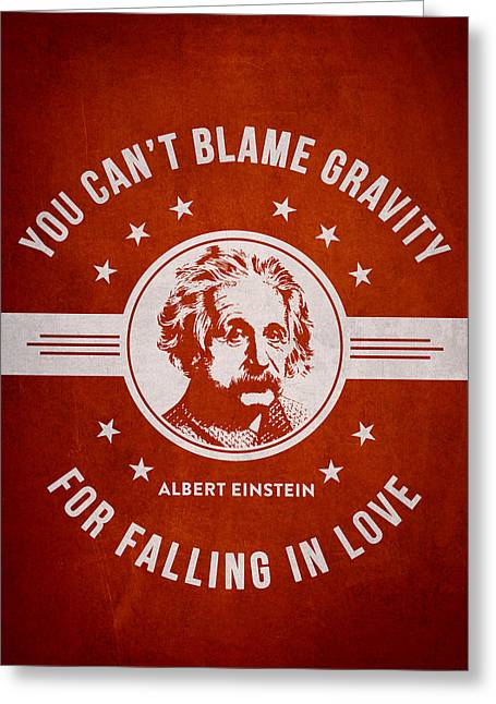 Physicist Greeting Cards - Albert Einstein - Red Greeting Card by Aged Pixel