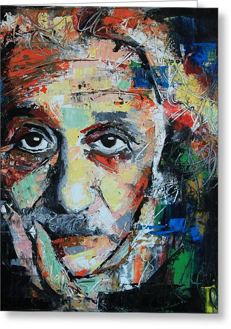 Intelligent Greeting Cards - Albert Einstein Greeting Card by Richard Day