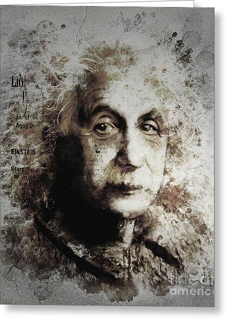Berlin Mixed Media Greeting Cards - Albert Einstein Greeting Card by Shanina Conway