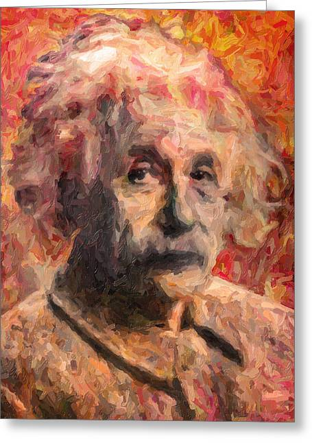 Canvas Greeting Cards - Albert Einstein Greeting Card by Taylan Soyturk