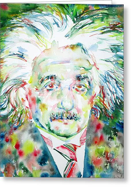 Albert Einstein Watercolor Portrait.1 Greeting Card by Fabrizio Cassetta