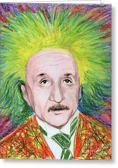 Spunky Greeting Cards - Albert Einstein Greeting Card by Yoshiko Mishina