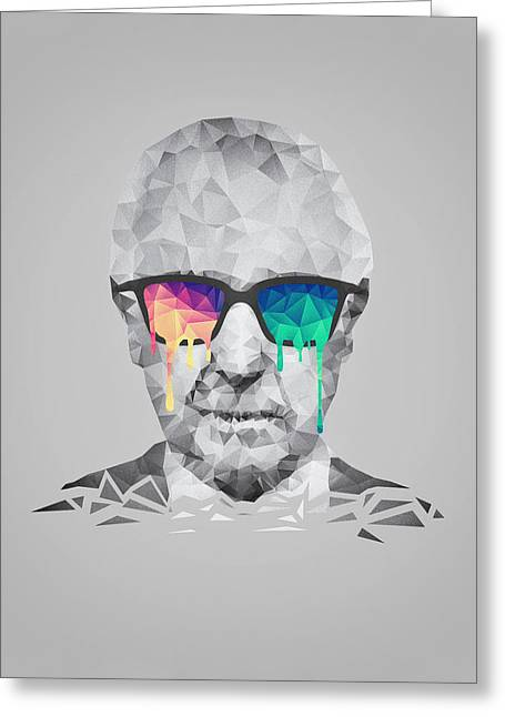 Science Greeting Cards - Albert Hofmann - Psychedelic Polygon Crystalised Portrait Greeting Card by Philipp Rietz