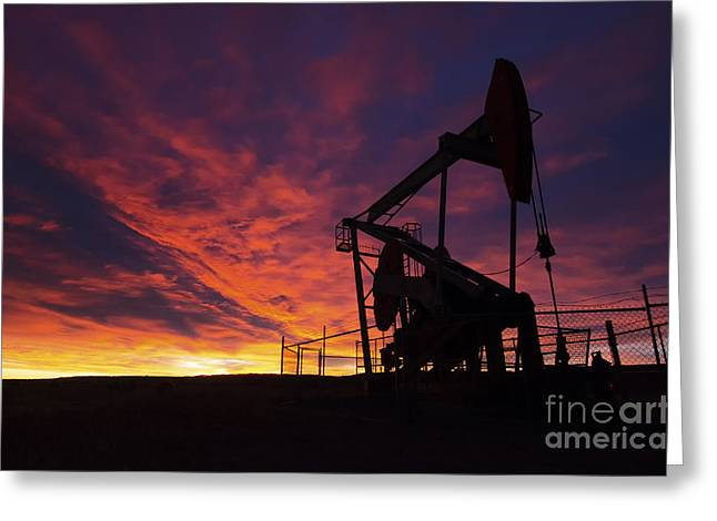Oil Pumper Photographs Greeting Cards - Alberta Canada Oil Country Greeting Card by Bob Christopher