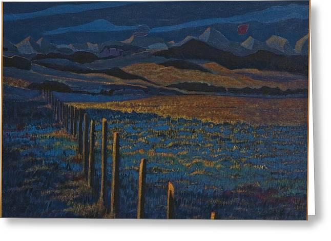 Alberta Foothills Landscape Greeting Cards - Alberta Dusk foothills Greeting Card by Laureen McMullan