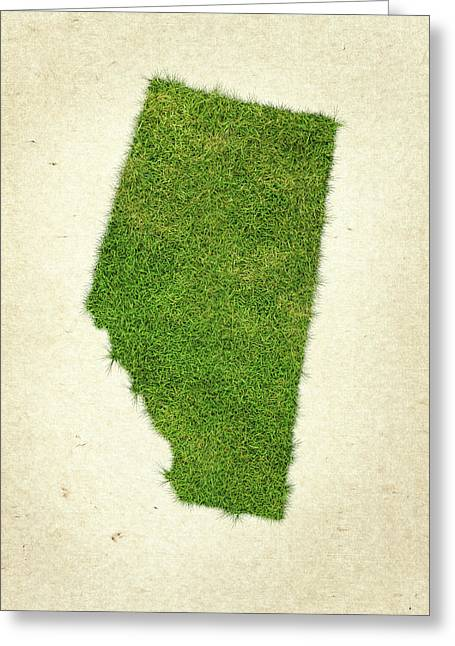 Canada Mixed Media Greeting Cards - Alberta Grass Map Greeting Card by Aged Pixel