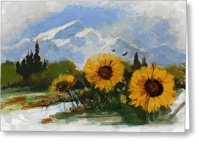 Alberta Landscape Greeting Cards - Alberta Landscape 001 Greeting Card by Mahnoor Shah