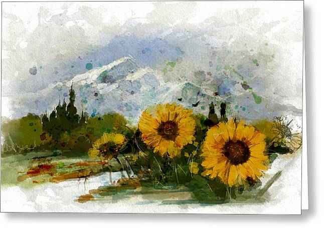 Ski Art Greeting Cards - Alberta Landscape 1B Greeting Card by Mahnoor Shah