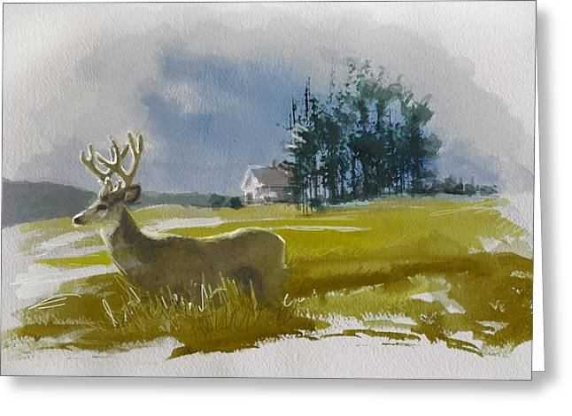 Red Deer Greeting Cards - Alberta Landscape 9b Greeting Card by Mahnoor Shah