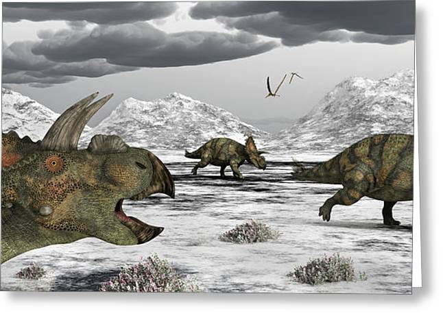 Albertaceratops During Their Winter Greeting Card by Mark Stevenson