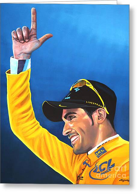 Plateaus Greeting Cards - Alberto Contador Greeting Card by Paul Meijering