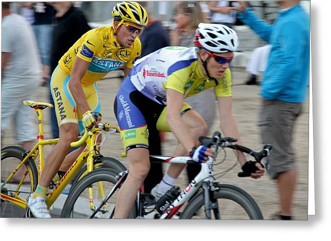 Street Race Greeting Cards - Alberto Contador pursuit Greeting Card by Odd Jeppesen