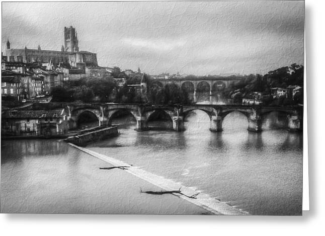 Brick Buildings Greeting Cards - Albi Part 2 BW Greeting Card by Erik Brede