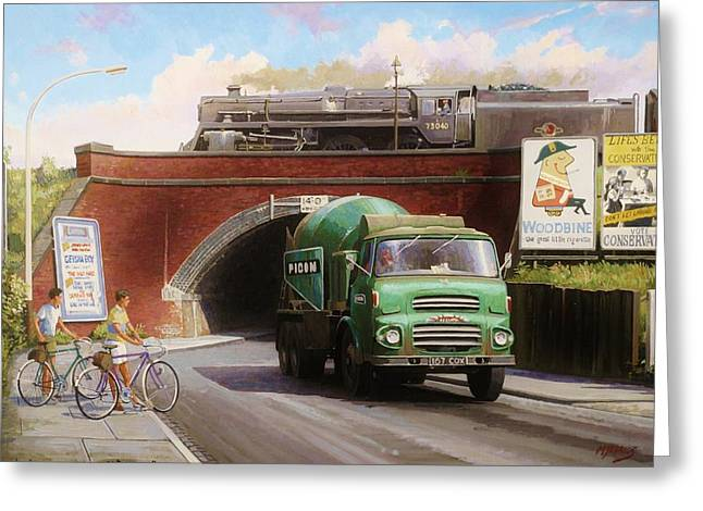 Streetscenes Paintings Greeting Cards - Albion mixer. Greeting Card by Mike  Jeffries