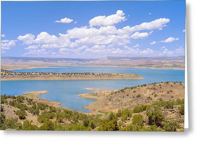 Man-made Greeting Cards - Albiquiu Reservoir, Route 84, New Mexico Greeting Card by Panoramic Images