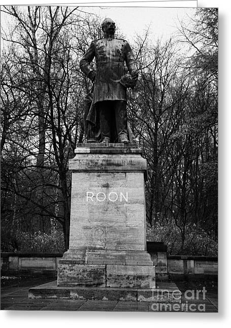 Berlin Germany Greeting Cards - Albrecht Theodor Emil Graf von Roon prussian soldier memorial statue tiergarten Berlin Germany Greeting Card by Joe Fox