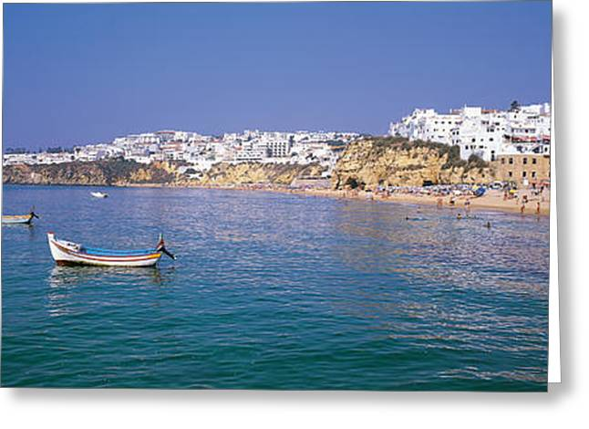 Boats In Water Greeting Cards - Albufeira Algarve Portugal Greeting Card by Panoramic Images