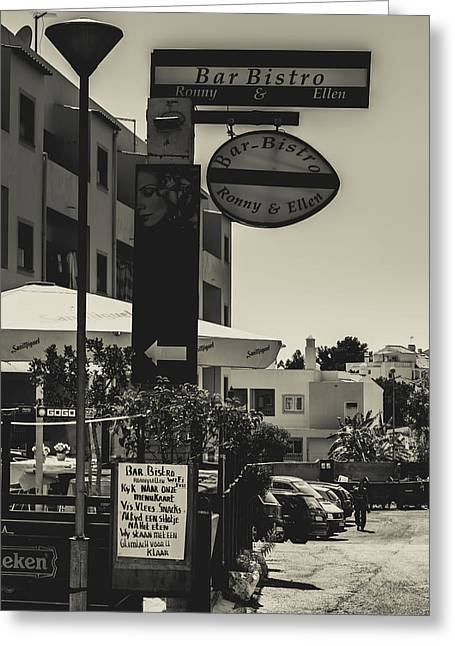 Albufeira Street Series - Bar Bistro Greeting Card by Marco Oliveira