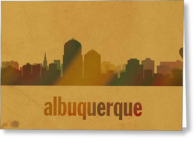 Albuquerque Greeting Cards - Albuquerque New Mexico City Skyline Watercolor On Parchment Greeting Card by Design Turnpike