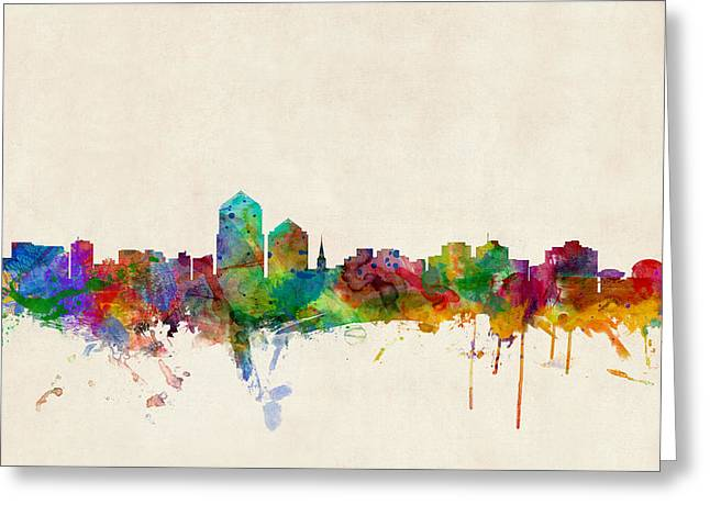 Albuquerque Greeting Cards - Albuquerque New Mexico Skyline Greeting Card by Michael Tompsett